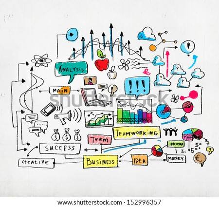 Business colorful sketch image on white background - stock photo