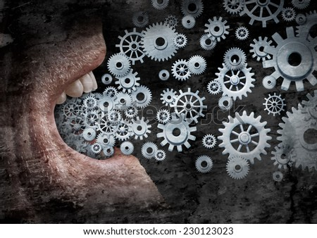Business communication and marketing success concept as an open  human mouth  spreading a message with social media with the metaphor of gears and cogs as a distribution symbol with a grunge texture. - stock photo