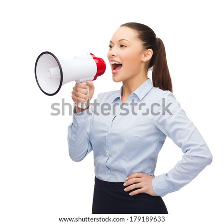 business, communication and office concept - screaming businesswoman with megaphone - stock photo