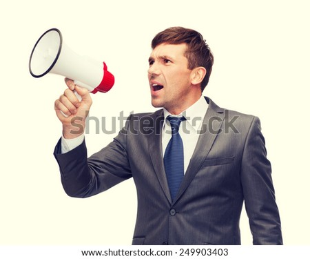 business, communication, hiring, searching, public announcement, office concept - buisnessman with bullhorn or megaphone - stock photo