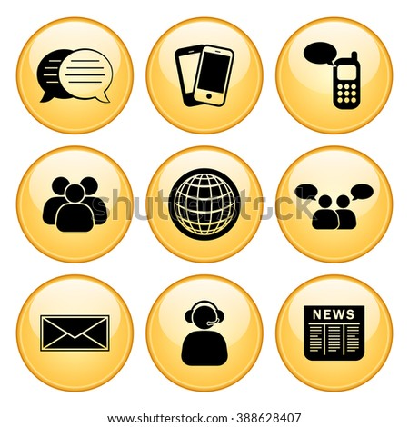 Business & Communication Icon Set with Gold Button Icons. Raster Version. - stock photo
