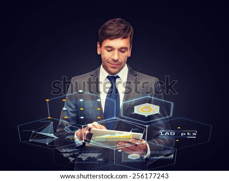 business, communication, modern technology and office concept - buisnessman with tablet pc - stock photo