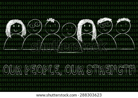 business communication & public relations: our people, our strength message - stock photo