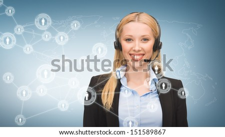 business, communication, technology and call center - female helpline operator with headphones and virtual screen - stock photo