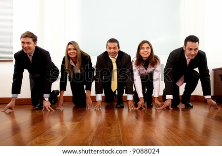 Business competition in an office with businessmen and businesswomen taking part - stock photo
