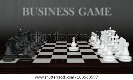 business composition with set of classic chess on dark wooden background - stock photo
