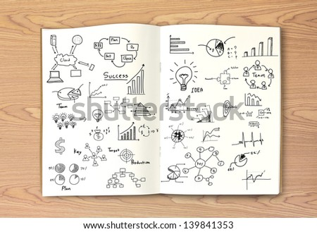 Business concept and graph drawing on book - stock photo