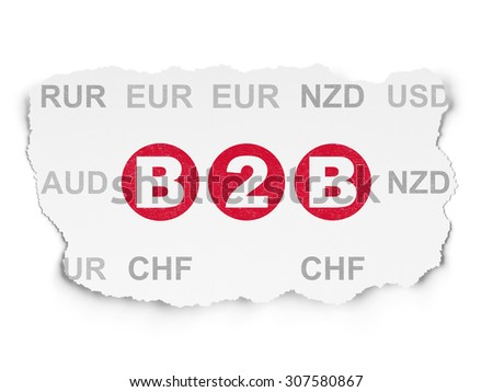 Business concept: B2b on Torn Paper background - stock photo