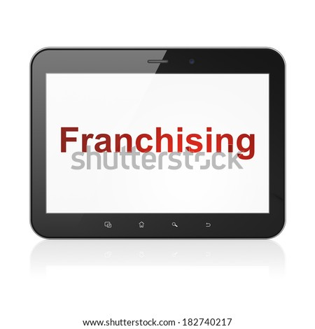 Business concept: black tablet pc computer with text Franchising on display. Modern portable touch pad on White background, 3d render - stock photo