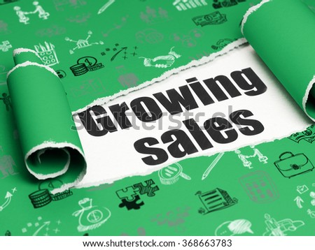 Business concept: black text Growing Sales under the piece of  torn paper - stock photo