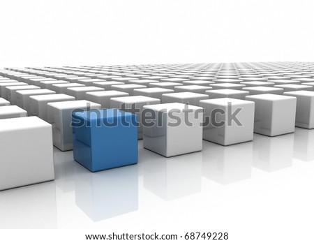 Business concept - blue box - stock photo
