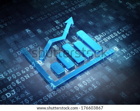 Business concept: Blue Growth Graph on digital background, 3d render - stock photo