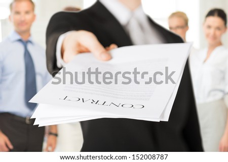business concept - businessman with contract - stock photo