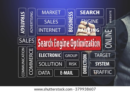 Business Concept: Businessman writing SEO (Search Engine Optimization) - stock photo