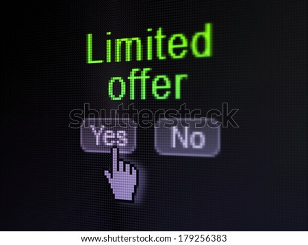 Business concept: buttons yes and no with pixelated word Limited Offer and Hand cursor on digital computer screen, selected focus 3d render - stock photo