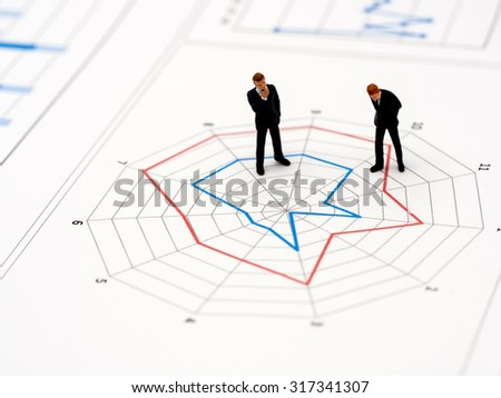 Business Concept by miniature figure on radar analysis graph chart - stock photo