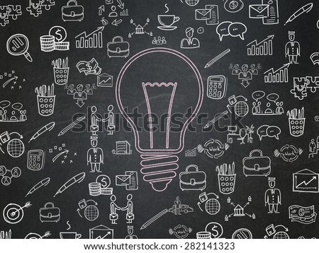 Business concept: Chalk Pink Light Bulb icon on School Board background with  Hand Drawn Business Icons, 3d render - stock photo