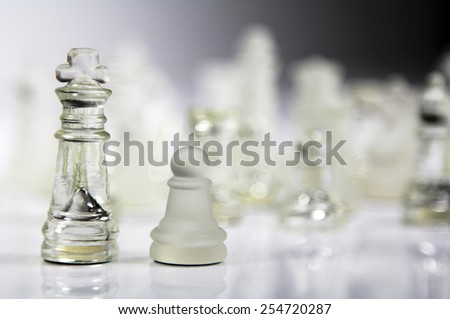 Business concept. Chess pieces on light background. King and Pawn. - stock photo