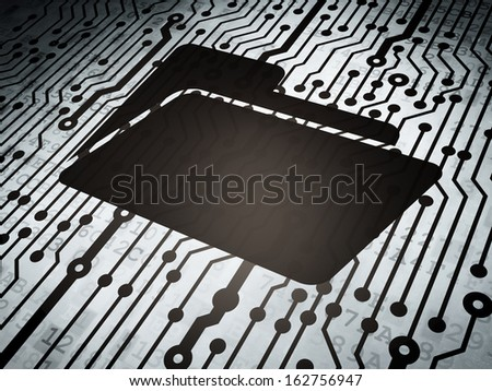 Business concept: circuit board with  Folder icon, 3d render - stock photo