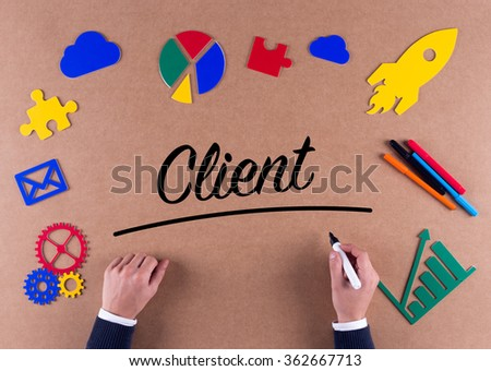 Business Concept-Client word with colorful icons - stock photo