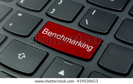 Business Concept: Close-up the Benchmarking button on the keyboard and have Red color button isolate black keyboard - stock photo