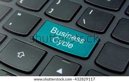 Business Concept: Close-up the Business Cycle button on the keyboard and have Azure, Cyan, Blue, Sky color button isolate black keyboard - stock photo