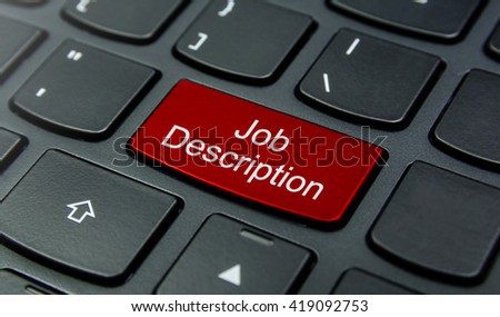 Business Concept: Close-up the Job Description button on the keyboard and have Red color button isolate black keyboard - stock photo