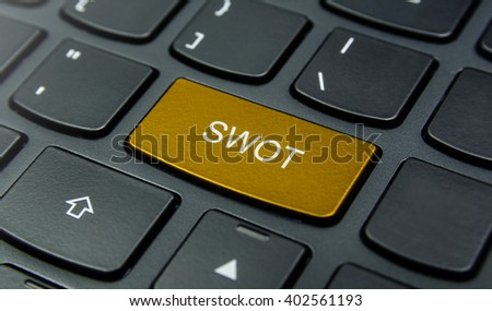 Business Concept: Close-up the SWOT Strengths, Weaknesses, Opportunities, Threats button on the keyboard and have Gold, Yellow color button isolate black keyboard - stock photo