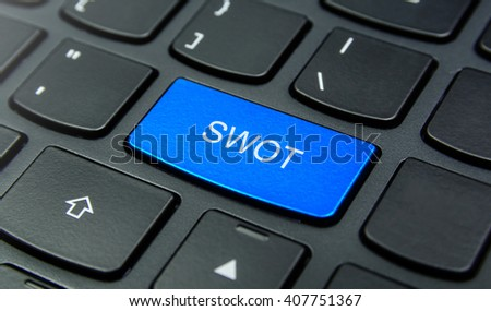 Business Concept: Close-up the SWOT Strengths, Weaknesses, Opportunities, Threats button on the keyboard and have Azure, Cyan, Blue, Sky color button isolate black keyboard - stock photo