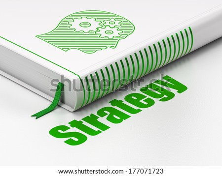 Business concept: closed book with Green Head With Gears icon and text Strategy on floor, white background, 3d render - stock photo