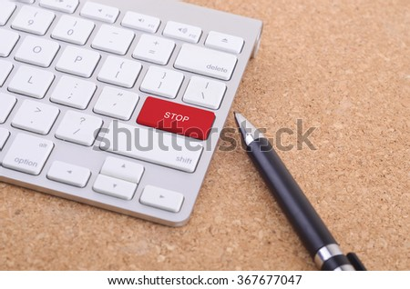 Business concept: computer keyboard  and business pen with word Stop on enter button background, 3d render - stock photo