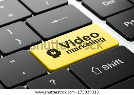 Business concept: computer keyboard with Head With Padlock icon and word Video Marketing, selected focus on enter button, 3d render - stock photo