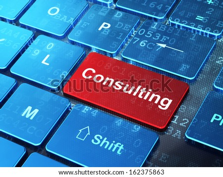 Business concept: computer keyboard with word Consulting on enter button background, 3d render - stock photo