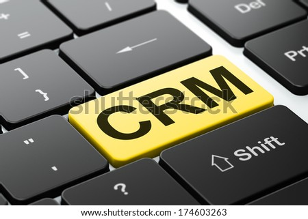 Business concept: computer keyboard with word CRM, selected focus on enter button background, 3d render - stock photo