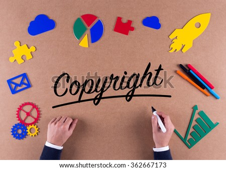 Business Concept-Copyright word with colorful icons - stock photo