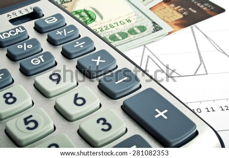 Business concept - credit card, calculator and money - stock photo