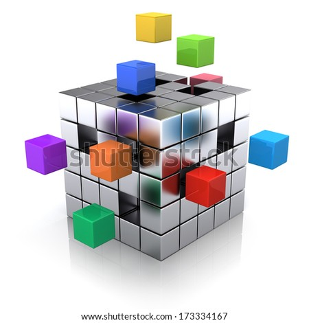 business concept - cube assembling from blocks - stock photo