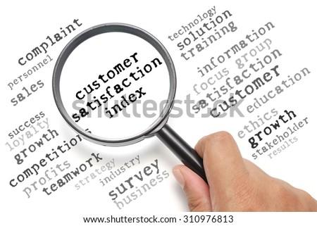 Business concept, customer satisfaction focusing on Customer Satisfaction Index - stock photo