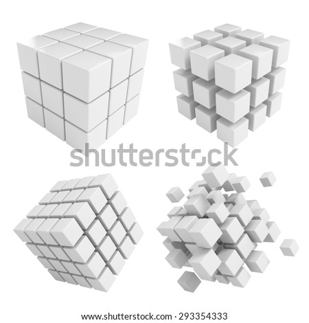 Business concept - 3D block cubes render collection - stock photo
