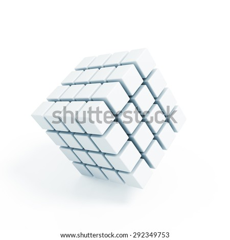 Business concept - 3D block cubes render on white - stock photo