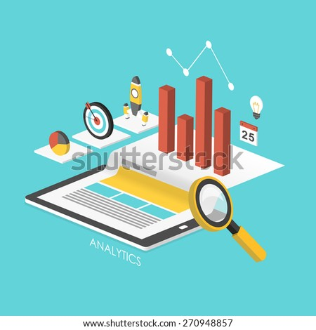 business concept 3d isometric infographic with tablet showing data analytics  - stock photo