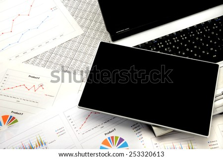 Business concept, digital tablet on personal computer - stock photo
