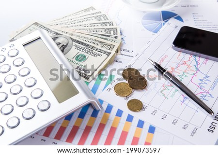 Business concept. Financial close-up background. - stock photo