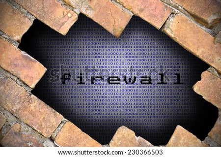 Business Concept For Data Security - Hole In Brick Wall With Binary Digit Background Inside With Firewall Word. - stock photo