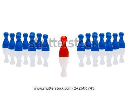 Business concept for leadership team, leadership, step forward. Group blue pawn figures, red one in front. Isolated on white background. Copy space, room for text. - stock photo