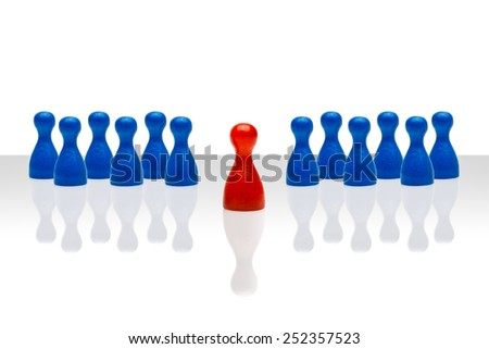 Business concept for leadership team, leadership, step forward. Multiple blue pawn figures, red one in front. Gradient surface on white background. Copy space, room for text. - stock photo