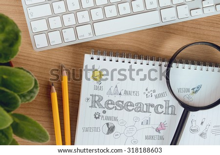 Business concept for market research, marketing, planning, analysis, statistics, new product development. Concept for website banner, background, presentation templates and marketing materials. - stock photo