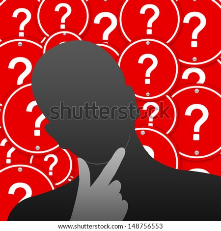 Business Concept for Problem Solving Present by The Businessman With Group of Red Circle Question Mark Road Sign Background  - stock photo
