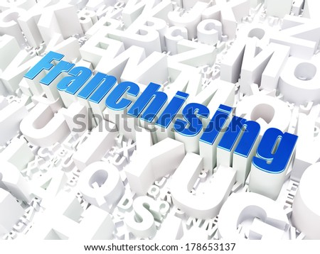 Business concept: Franchising on alphabet  background, 3d render - stock photo
