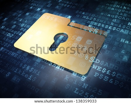 Business concept: Golden Folder on digital background, 3d render - stock photo